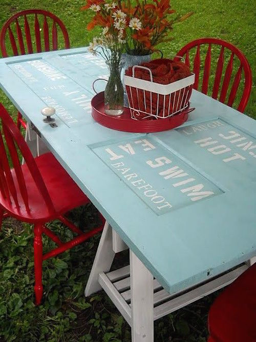 Closet door ideas diy makeovers to repurpose old doors - Make a table from an old door ...