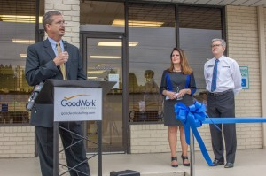 Rob Youngblood, York County Regional Chamber President (left), addresses the crowd gathered for the grand opening of the GoodWorks Staffing location in Rock Hill, SC, along with Carol Ashby, Dir. of GoodWork Staffing (center), and Robin Carson, Senior VP of Goodwill Industries.
